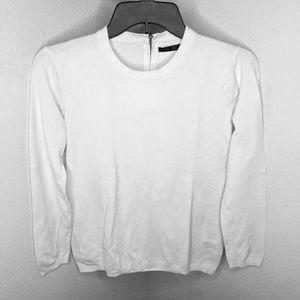 Zara Knit white back zip Top